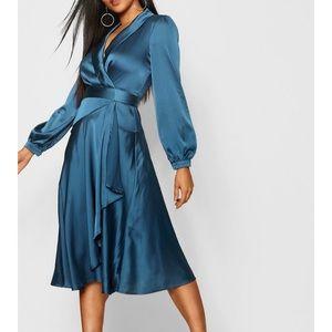 Boohoo Satin Wrap Detail Midi Dress 6